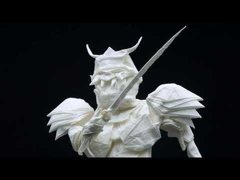 The folding process of origami Samurai Warrior