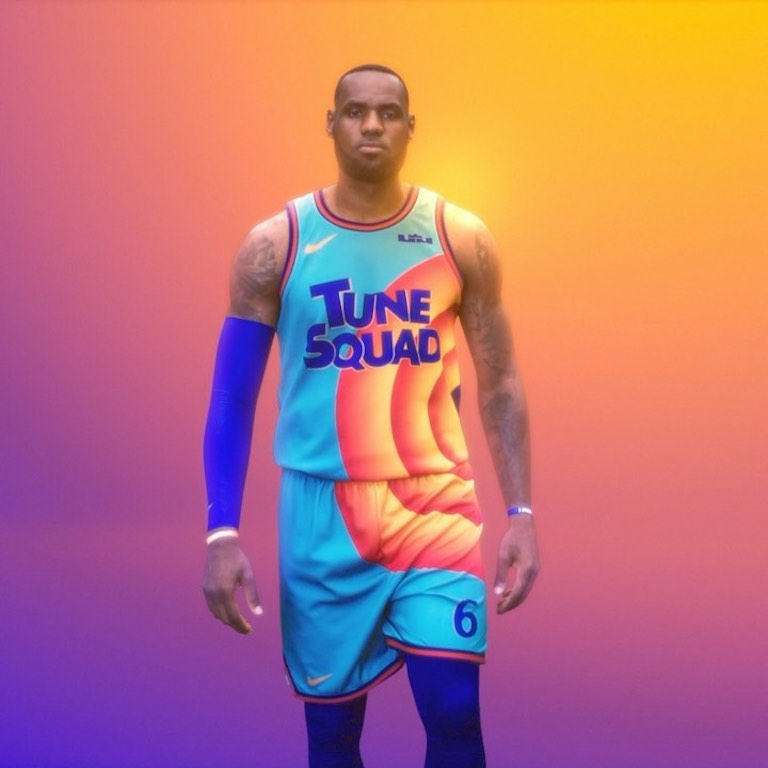 LeBron James in his new Space Jam jersey