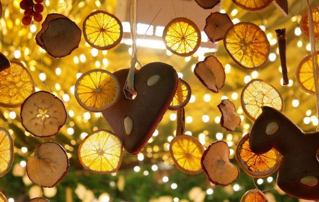 Lemon slices hung up