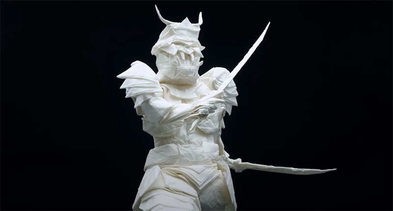 A samurai made out of a single piece of paper