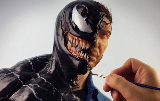 A Venom/Eddie Brock sculpture timelapse video