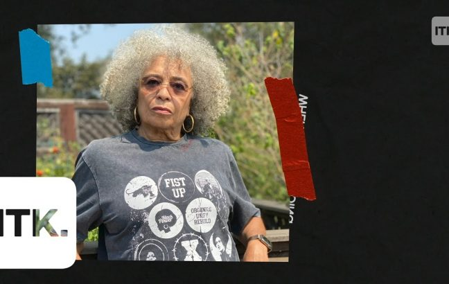 Angela Davis wearing a Renowned t-shirt featuring herself